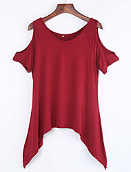 Women's Sexy Round Neck Ruffle T-shirt ,  Short Sleeve