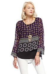 les femmes heartsoul de sortir blouse d'été simple, géométrique col rond manches longues polyester violet mince