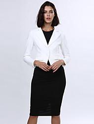 Damen Solide Blazer,Gekerbtes Revers Herbst Langarm Blau / Rot / Weiß / Schwarz Polyester Mittel