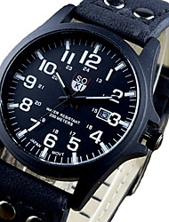 Unisex Sport Watch Quartz Chronograph Leather Band Sparkle Black Brown Green Khaki Brand
