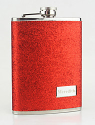 Personalized Stainless Steel 8-oz Red Leather Hip Flasks