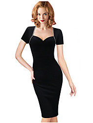 Women's Fashion Deep U Sexy Bodycon Pencil Dress