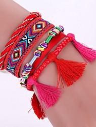 New Fashion Native Style Boheme Tassel Multilayer Weave Leather Alloy Buckle Bracelet Bangle