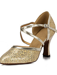 Non Customizable Women's Dance Shoes Flocking Flocking Salsa Sandals / Heels Flared Heel Beginner / Indoor Gold