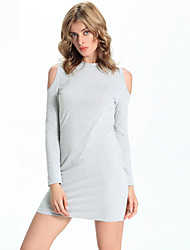 Women's Going out / Casual/Daily Simple Sweater Dress,Solid Off Shoulder Mini Long Sleeve Gray Polyester