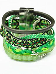Beautiful Rainbow Colorful Fabric Weave Magnet Buckle Friendship Wrap Layered Bracelet