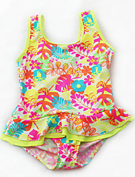 Kid's Cute Floral Princess Swimwear Bathing Suit One Piece Swimsuit