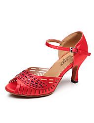 Women's Dance Shoes Satin Satin Latin / Salsa Sandals Stiletto Heel Professional / Indoor Black / Blue / Red