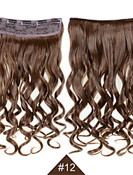 "Clip In Synthetic Hair Extensions 24"" 120g Silky Fiber Hair  #12 Brown Curly Hairpiece Wavy No Shedding"