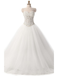 Ball Gown Wedding Dress See-Through Floor-length Sweetheart Tulle with Appliques Pearl