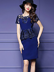 Women's Sophisticated Print Bodycon Dress,Round Neck Knee-length Polyester