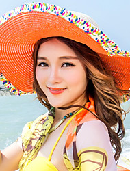 Fashion Summer Beach Large Travel Stitching Color Bow Straw Hat