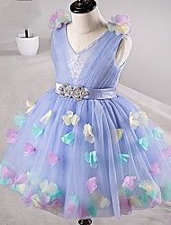 Ball Gown Knee-length Flower Girl Dress - Tulle V-neck with Flower(s) Sash / Ribbon