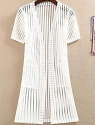 Women's Holiday Street chic Summer Blazer,Solid Round Neck Short Sleeve White / Black Nylon Translucent