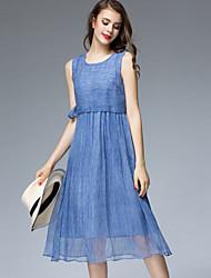 Viva Vena® Women's Round Neck Sleeveless Tea-length Dress-VA88141