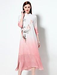 Mulheres Solto Vestido,Happy-Hour Sofisticado Estampado Colarinho Chinês Médio Manga ¾ Azul / Rosa Raiom Primavera / Verão