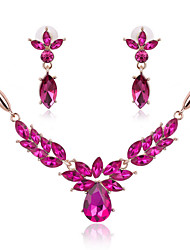 Flower Shape Rhinestone Statement Necklace & Earrings Jewelry Set