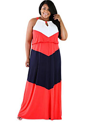Women's Simple Color Block Racerback Cut Out Sexy Casual Plus Size / Sheath Dress,Round Neck Maxi