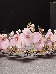 Women's / Flower Girl's Pearl / Alloy / Fabric Headpiece-Wedding / Special Occasion Tiaras 1 Piece White Round 32