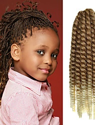 "Brown Ombre Beige 12"" Kid's Kanekalon Synthetic 2X Havana Mambo Twist 2 Tone 100g Hair Braids with Free Crochet Hook"