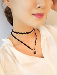Necklace Choker Necklaces Jewelry Party / Daily / Casual Fashionable Lace Black 1pc Gift