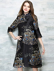 Women's Vintage Print A  / Chiffon Dress,Stand Knee-length Bamboo Fiber