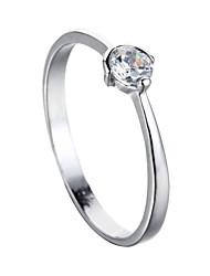 Sjeweler Ladies Platinum Plating White Zircon Bridal Ring