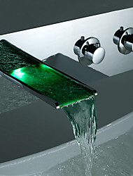 LED Waterfall Basin Faucet Copper Hot And Cold Temperature Control Discoloration Lead-Free Bathtub Faucet