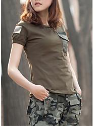 Damen Solide Einfach / Aktiv Lässig/Alltäglich T-shirt,Rundhalsausschnitt Sommer Kurzarm Schwarz / Grün Baumwolle Dünn
