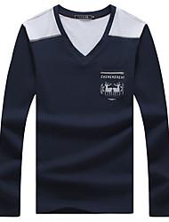 Tee-Shirt Pour des hommes Mosaïque Décontracté / Grandes Tailles Manches longues Coton / Spandex Bleu / Blanc / Gris
