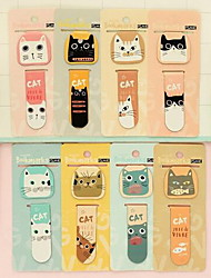 Mini Magnetic Cartoon Cat Bookmark for Student (Random Colors)