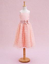 A-line Tea-length Flower Girl Dress - Lace Straps with Flower(s) Lace