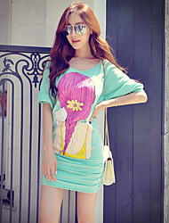 Pink Doll® Women's Casual Round Neck 3/4 Length Sleeve Above Knee Dress-X14CDR188