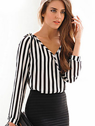 Women's Striped White Shirt , Deep V Long Sleeve