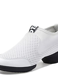 Women's Dance Shoes Sneakers Breathable Leather Split Sole Low Heel Black/White
