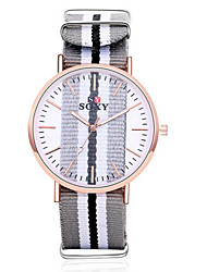 SOXY® Lady's Fabric Leather Band Clear Case Analog Quartz Dress Watch (NO Water Ressistant)