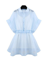 Women's Casual/Daily Sophisticated Shirt Dress,Solid Shirt Collar Mini Short Sleeve Blue / White Polyester Summer