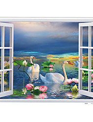 Lakefront Swan Lotus Flower Landscape Wall Stickers PVC Removable Bathroom Kitchen Living Room Wall Decals