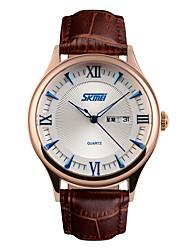 Skmei® Men's Fashion Round Dial Leather Strap Calendar Quartz Wrist Watch 30m Waterproof Assorted Colors