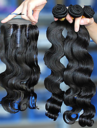 """6A Malaysian Virgin Hair With Closure,Lace Closure With 3Pcs Hair Weft Malaysian Body Wave With Closure 10""""-28"""""""