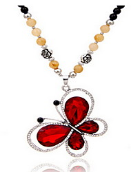 Exquisite Crystal Buttefly Pendant Necklace Jewelry for Lady