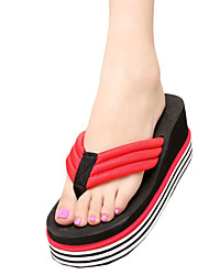 Women's Slippers & Flip-Flops Summer Flip Flops Polyester Casual Wedge Heel Others Black / Red