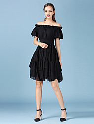 Women's Casual/Daily Cute A Line / Chiffon Dress,Solid Boat Neck Above Knee Red / White / Black Cotton