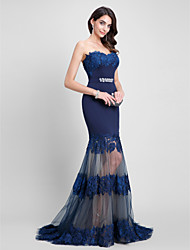 2017 Formal Evening Dress Fit & Flare Sweetheart Sweep / Brush Train Tulle / Jersey with Beading / Lace / Sash / Ribbon