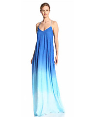 Women's Party/Cocktail Sexy Loose Dress,Solid Halter Maxi Sleeveless Blue Polyester Summer
