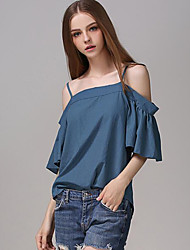 Damen Solide Sexy Lässig/Alltäglich T-shirt,Gurt Sommer Kurzarm Blau Polyester Mittel