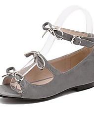 Women's Shoes PU Summer Open Toe / Flats Sandals Outdoor / Office & Career Flat Heel Others Black / Gray