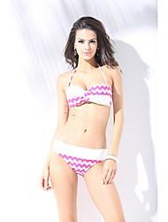 Women's Halter Bikini,Floral Nylon / Polyester Pink / Black / Light Blue