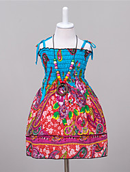 Girl's Casual/Daily Print Dress,Polyester Summer Blue