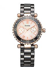 Женские Модные часы Кварцевый Фосфоресцирующий Керамика Группа Черный / Белый марка